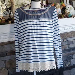 Little yellow button top lace nautical stripes